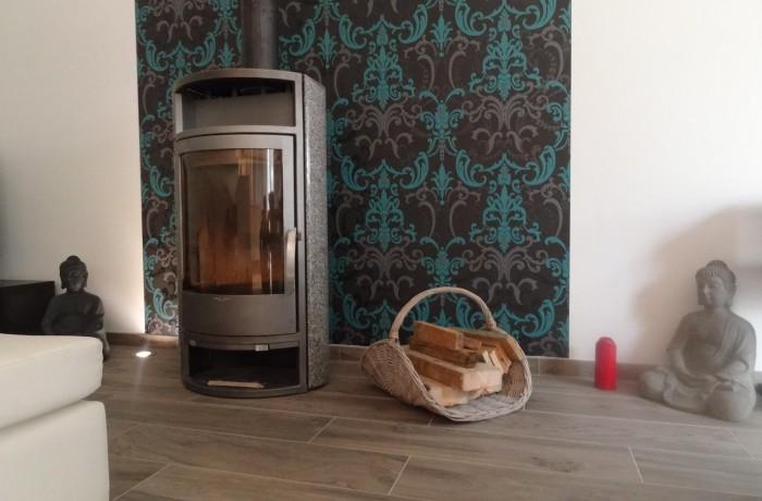 Salon, coin feu, poêle à bois, décoration, inspiration, construction maison, Chenois, Province Luxembourg, Belgique