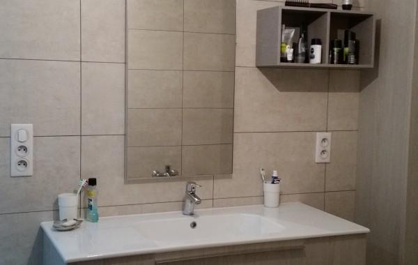 Salle de bains, meuble sdb, faïence, construction maison, Chenois, Province Luxembourg, Belgique